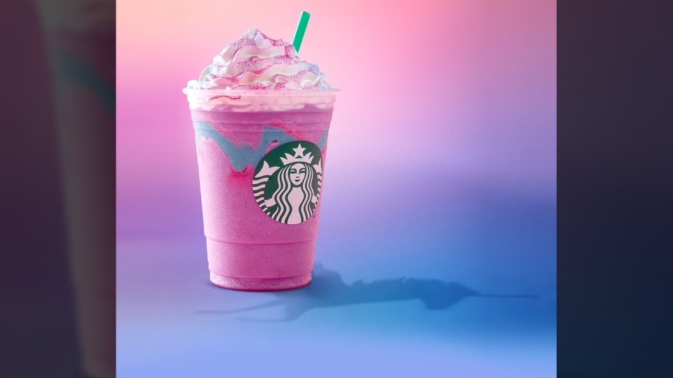 Starbucks claims the Unicorn Frappuccino changes colours and flavours as the customer drinks it. (Starbucks)