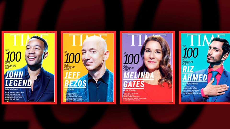 Time's special issue is comprised of five worldwide covers that each feature a member of the Time 100 list: Viola Davis (not pictured), John Legend, Jeff Bezos, Melinda Gates and Riz Ahmed.