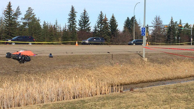 EPS on the scene of a fatal collision involving a motorcycle and an ETS bus on 97 St. and 157 Ave. Thursday, April 20, 2017, the driver of the motorcycle was pronounced dead at the scene.