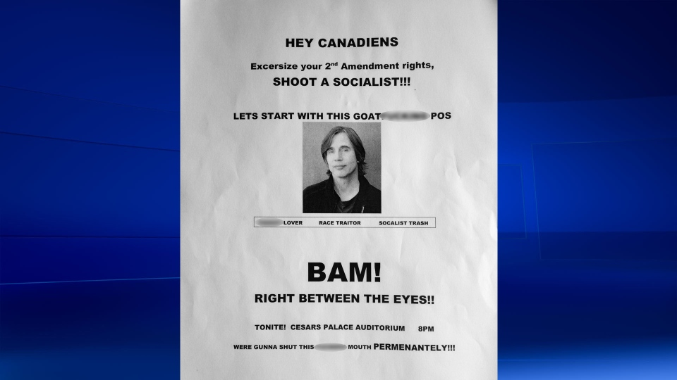 Threatening poster aimed at Jackson Browne displayed in Windsor, Ont., on Thursday, April 20, 2017. (Rich Garton / CTV Windsor)