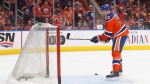 Edmonton Oilers' Leon Draisaitl (29) takes part in warm up before taking on the San Jose Sharks during NHL playoff action in Edmonton, Alta., on Friday April 14, 2017. (Jason Franson/The Canadian Press)