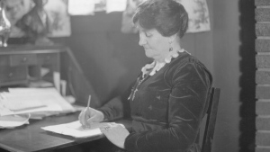 The first woman, Mary Ellen Smith, ran and was elected to office in a byelection in Vancouver in 1918. (Portrait of Smith from City of Vancouver Archives, taken in the 1920s)