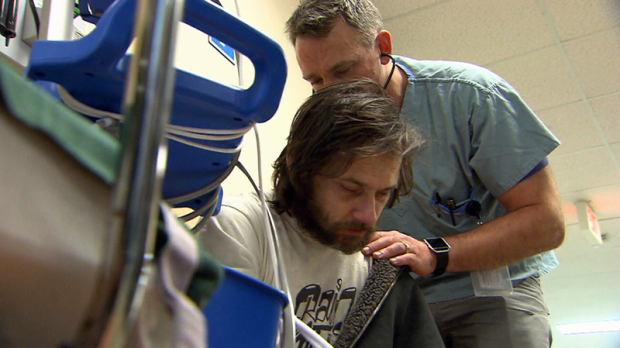 Jonathan McCarthur, who was brought in to the ER at St. Paul's Hospital overdosing on fentanyl, estimates he has OD'd 25 times in the past year. (CTV)
