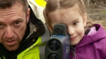 Julia Billie gets behind a police radar gun for a school project aiming to teach parents and neighbourhood drivers to slow down around the school.