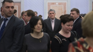 Members of Jehovah's Witnesses react in a court room after judge's decision in Moscow, Russia, on Thursday, April 20, 2017. (AP / Ivan Sekretarev)