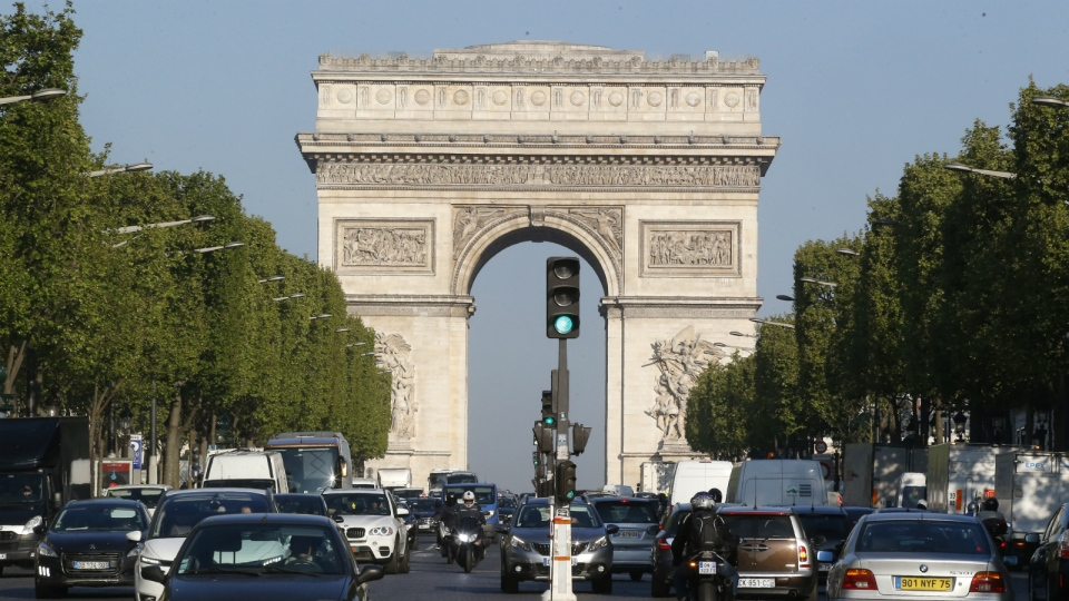 The Arc de Triomphe is pictured on the Champs Elysees boulevard in Paris, early Friday, April 21, 2017. (AP / Michel Euler)