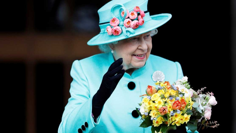 Queen Elizabeth is shown in an April 16, 2017 file photo as she leaves the Easter Sunday service in Windsor Castle, in Windsor England. (Peter Nicholls/Pool File via AP)