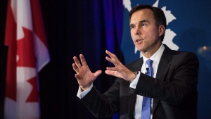 Finance Minister Bill Morneau speaks at The Public Policy Forum Growth Summit in Toronto on April 20, 2017. (THE CANADIAN PRESS / Aaron Vince)