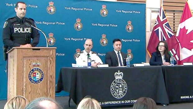 Members of York Regional Police provide an update into a child prostitution investigation, Friday, April 21, 2017.