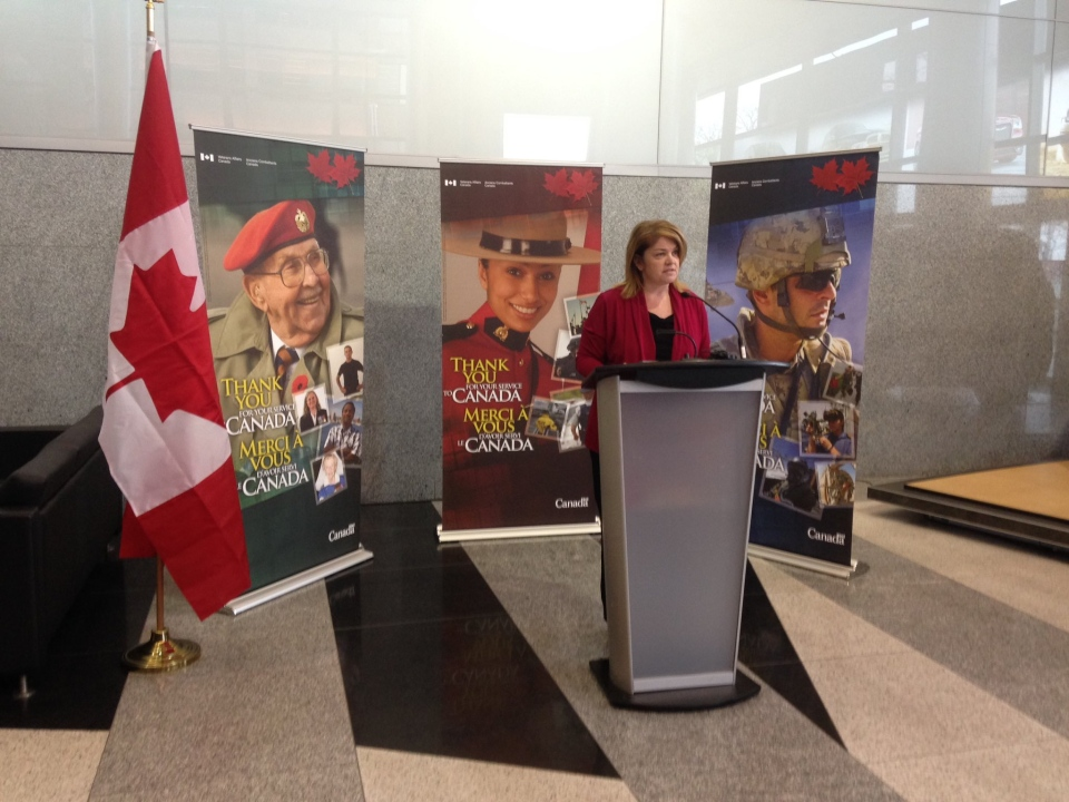 Parliamentary secretary Sherry Romanado reopens the veterans affairs office in Windsor, Ont., on Friday, April 21, 2017.