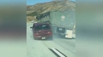 California trucker drags wrecked car