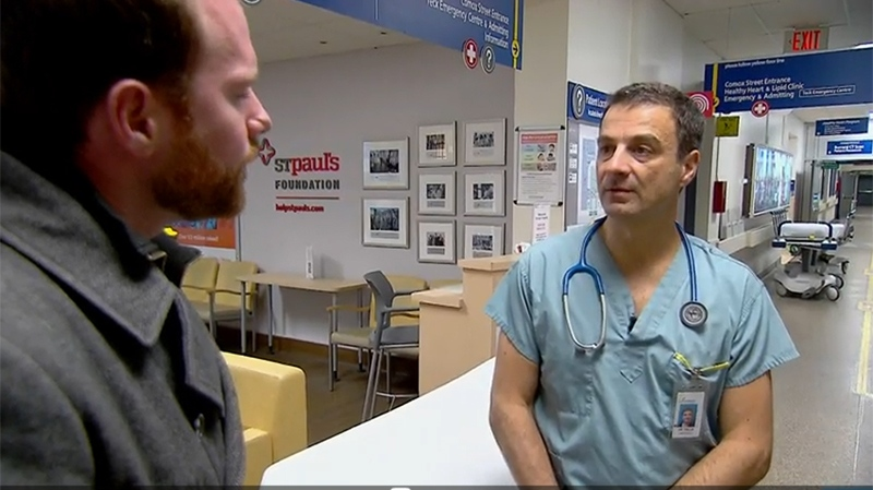 Jon Woodward with Dr. Daniel Kalla at St. Paul's hospital, the closest emergency room to Vancouver's Downtown Eastside. Three-quarters of overdose calls in the area end up at St. Paul's.