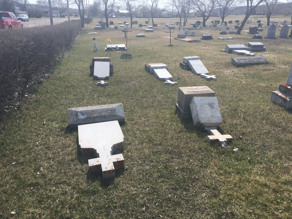 More than a dozen graves were vandalized in Lebret, Sask. over the Easter weekend. (CREESON AGECOUTAY/CTV REGINA)