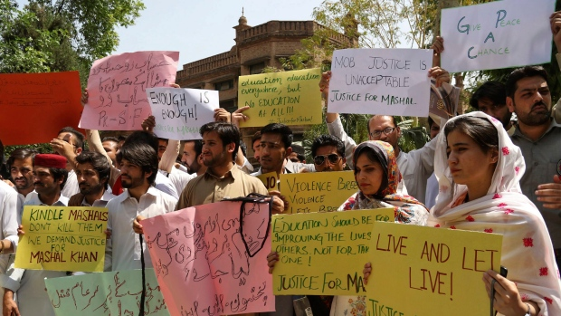 Students protest the killing of Mohammad Mashal