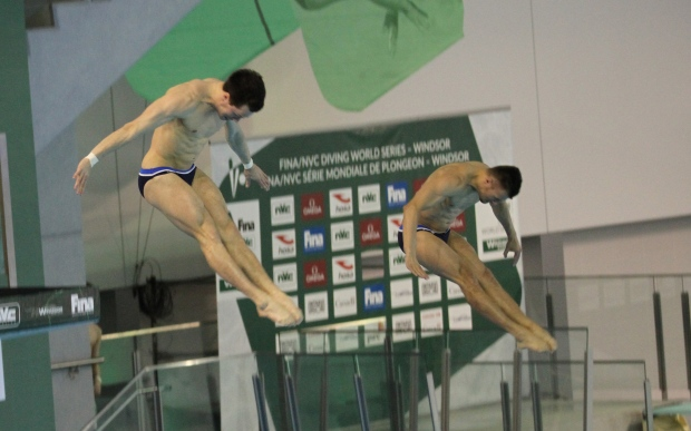 The men's 10m synchro platform final at the FINA/NVC Diving World Series in Windsor, Ont., on Friday, April 21, 2017. (Melanie Borrelli / CTV Windsor)