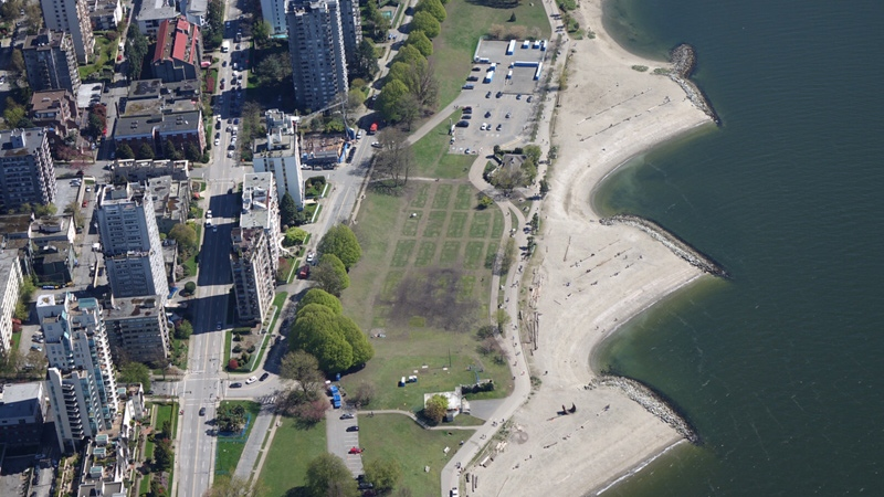 The fields around Vancouver's Sunset Beach are seen from CTV's Chopper 9 on Friday, April 21, 2017. (Pete Cline / CTV Vancouver)