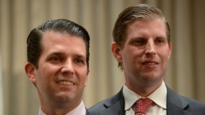 Donald Trump Jr., left, and his brother Eric Trump attend the grand opening of the Trump International Hotel and Tower in Vancouver, B.C., Canada on Feb. 28, 2017. (Jonathan Hayward/The Canadian Press via AP, File)