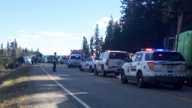 RCMP say the crash happened Friday just before 5:15 p.m. on Highway 97 south of Kersley, B.C. -- about 30 kilometres outside of Quesnel.