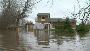 A home in Rigaud, Que. that flooded during the recent heavy rainfall. (CTV Montreal)