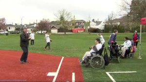 Accessible baseball field hillcrest park