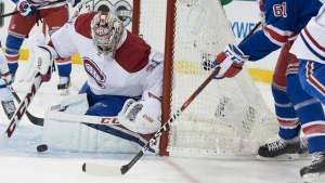 Montreal Canadiens goalie Carey Price (31) tends the net against New York Rangers left wing Rick Nash (61) during the second period of Game 6 of a first-round NHL hockey Stanley Cup playoff series, Saturday, April 22, 2017, at Madison Square Garden in New York. (AP Photo / Mary Altaffer)
