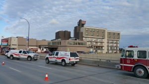 Eastbound Portage Avenue was down to one lane as fire crews worked at the scene. (Photo: Dan Timmerman/CTV Winnipeg)