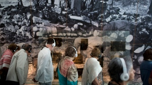 People visit the Yad Vashem Holocaust Memorial in Jerusalem, Sunday, April 23, 2017. Israel is marking the annual Holocaust Remembrance Day beginning at sunset Sunday. (AP Photo/Oded Balilty)