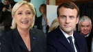 Centrist Emmanuel Macron and far-right populist Marine Le Pen are seen in this composite image. (AP Photo)
