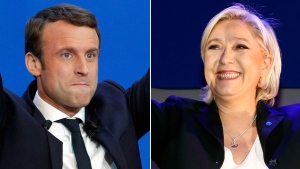 Centrist Emmanuel Macron and far-right populist Marine Le Pen are pictured in this combination image. (AP Photo)