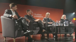 Four candidates vying for the role of Quebec Solidaire spokesperson debate in Montreal on Sunday, April 23, 2017.