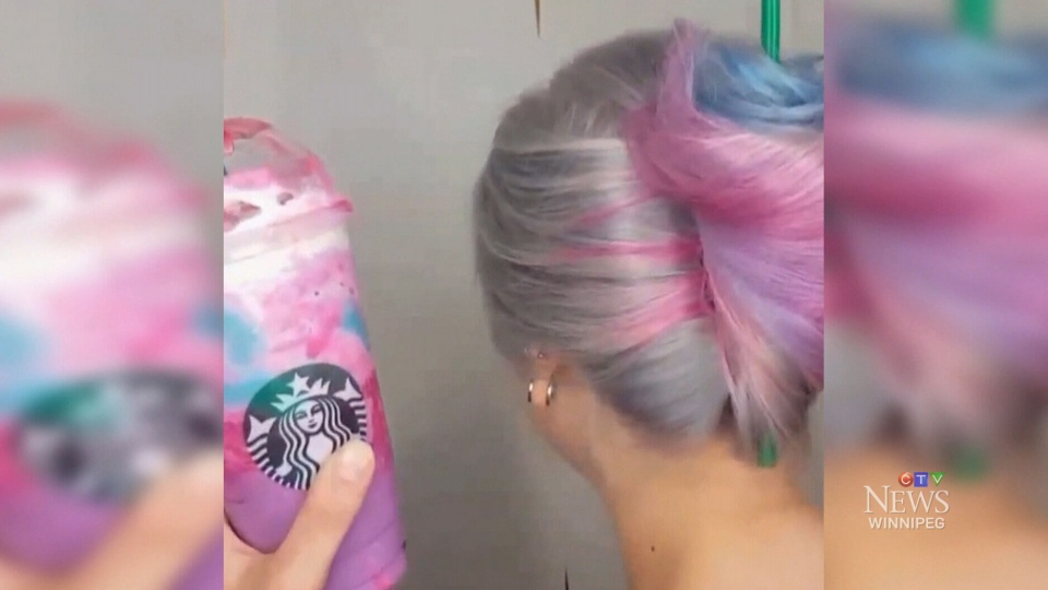 The photo of the Unicorn Frappuccino-inspired hairdo has attracted more than 16,000 likes on Instagram.