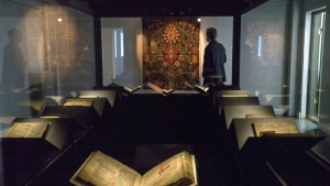 A law book penned on calf-skin in 1363 is displayed at a museum in Reykjavik on Saturday, April 15, 2017. (AP / Egill Bjarnason)