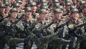 In this April 15, 2017, file photo, soldiers march across Kim Il Sung Square during a military parade in Pyongyang, North Korea, to celebrate the 105th birth anniversary of Kim Il Sung, the country's late founder and grandfather of current ruler Kim Jong Un. (AP Photo/Wong Maye-E)