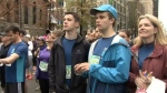 Teen running partners at 2017 Vancouver Sun Run