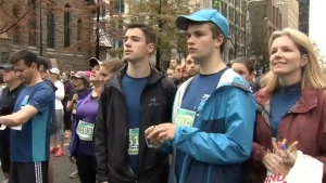 Teen running partners at 2017 Vancouver Sun Run