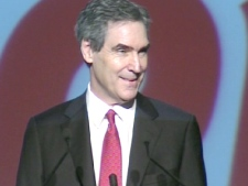 Liberal Leader Michael Ignatieff delivers a speech to Quebec supporters in Laval on March 22, 2009.