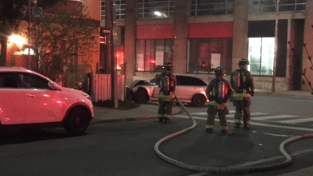 A home in Toronto's Dovercourt Park neighbourhood has been evacuated after a driver crashed into the residence and hit a gas line. (Mike Nguyen/ CP24)