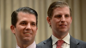 Donald Trump Jr., left, and his brother Eric Trump at Trump International Hotel and Tower in Vancouver, B.C., on Feb. 28, 2017. (Jonathan Hayward / The Canadian Press via AP)