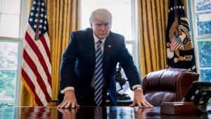 U.S. President Donald Trump in the Oval Office in Washington, on April 21, 2017. (Andrew Harnik / AP)