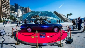 A Bentlzy Azure painted with two million diamonds, on show at Top Marques Monaco 2017. (AFP)