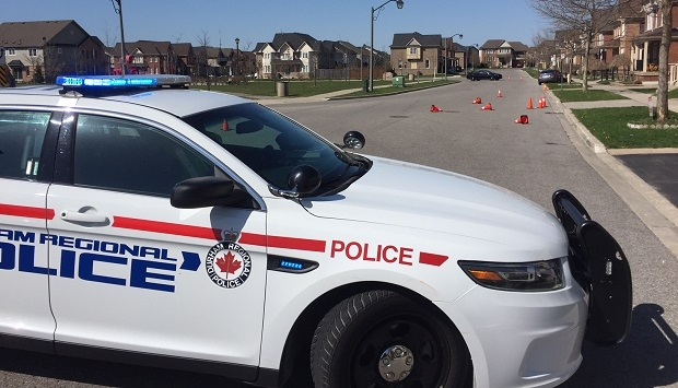 Police at the scene where a 10-year-old girl was struck by a vehicle in Ajax on April 24, 2017. (Ted Brooks/CTV News Toronto)