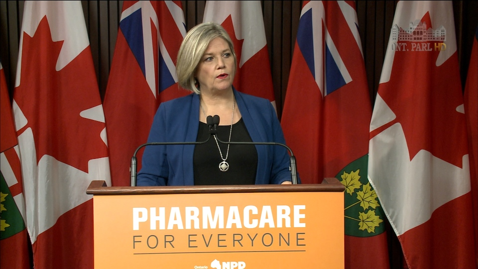 NDP leader Andrea Horwath speaks to reporters at a press conference on April 24, 2017.