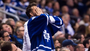 A Toronto Maple Leafs fan reacts during a game against the Washington Capitals in Toronto on April 23, 2017. (Nathan Denette /  THE CANADIAN PRESS)