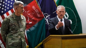 U.S. Defence Secretary James Mattis , right, and U.S. Army General John Nicholson, left, commander of U.S. Forces Afghanistan, at Resolute Support headquarters in Kabul, Afghanistan, on April 24, 2017. (Jonathan Ernst / Pool Photo via AP)