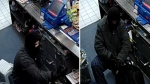Barrie, Ont. police released these images of a suspect wanted for an armed robbery on Monday, April 24, 2017. (Handout)
