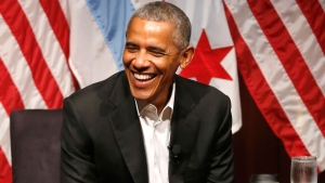 Former U.S. President Barack Obama smiles as he hosts a conversation on civic engagement and community organizing, Monday, April 24, 2017, at the University of Chicago in Chicago. It's the former president's first public event of his post-presidential life in the place where he started his political career. (AP Photo/Charles Rex Arbogast)