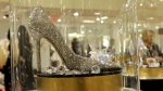 A Jimmy Choo shoe, from the Disney-curated collection of nine luxury designer shoes re-imagining the iconic glass slipper from 'Cinderella,' at Saks Fifth Avenuein New York, on March 9, 2015. (Photo by Diane Bondareff / Invision for Disney Consumer Products / AP Images)