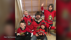 Paul and his kids Sam, Isabelle, Amelie and Lucie, former Ottawa residents currently living in Kentville, N.S. show off their Sens spirit during playoffs. (Paul Finnemore/CTV Viewer)