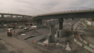 Construction crews work on the Turcot Interchange in April 2017