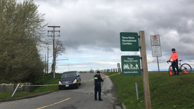 "A popular nature park in Richmond was cordoned off by police tape due to a ""serious incident"" on April 24, 2017. (Penny Daflos/CTV)"